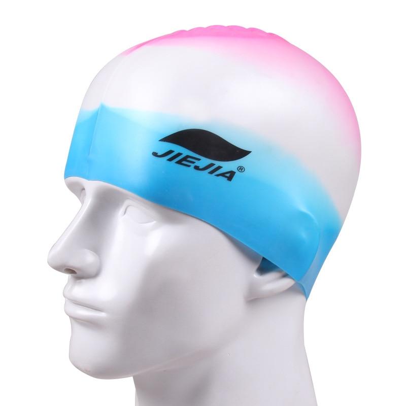 Top Quality Colorful Rainbow Swimming Cap Silicone Waterproof Swim Caps for women Kids Ladies Swimming Pool hat JIEJIA JAGUAR