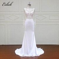 Eslieb Elegant Customed made Vestidos De Novia Bridal Dresses 2018 Real Photo Sheath Wedding Dresses Wedding Gowns XFM024