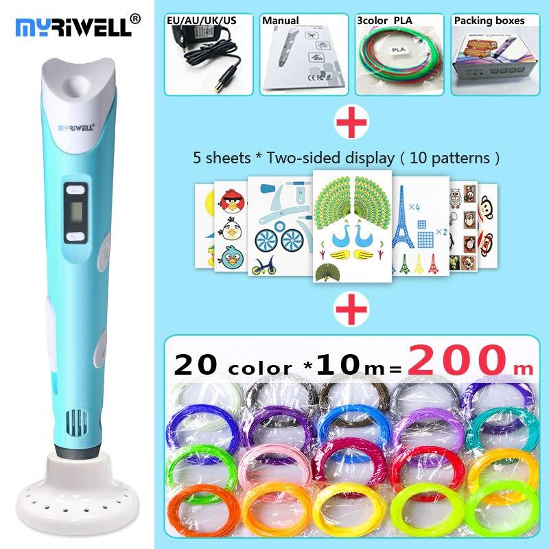 Myriwell 3d caneta 3d canetas, display LED, ABS/PLA Filamento, 3 d caneta Adicionar suportes especiais para proteger as mãos, 3d impresso caneta Presente para As Crianças