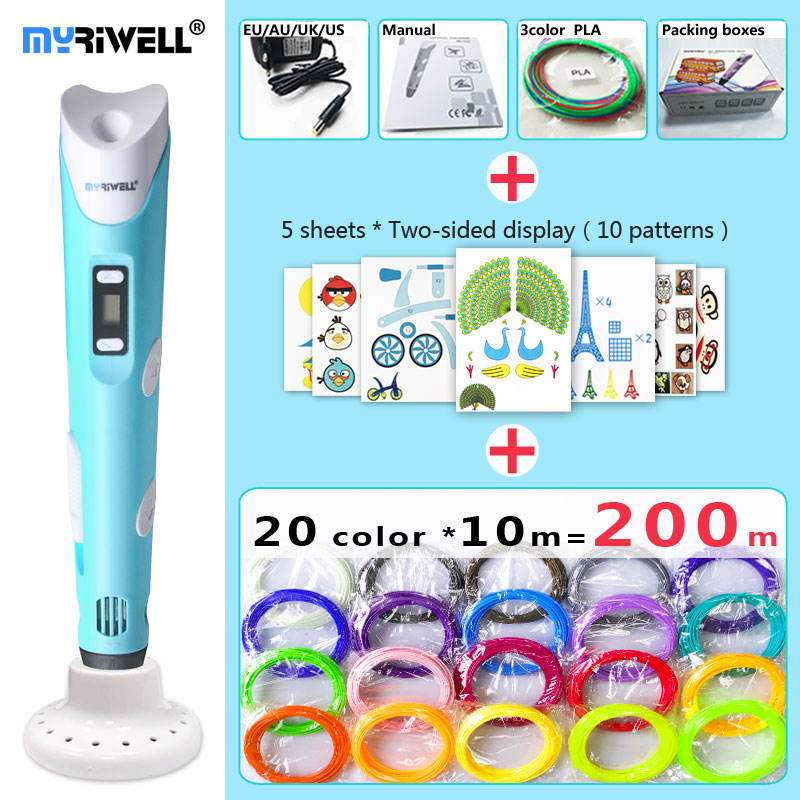 myriwell 3d pen 3d pens,LED display,ABS/PLA Filament,3 d pen Add special brackets to protect hands, 3d printed pen Gift for Kids myriwell 3d pen led display 1 75mm pla filament abs 3d pens 3 d pen 3d handle smart child birthday gift toys abs plastic