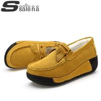 Women Casual Shoes Shallow Mouth Women Single Shoes Comfortable Plus Velvet Shook His Shoes Size 35 40 #B2327