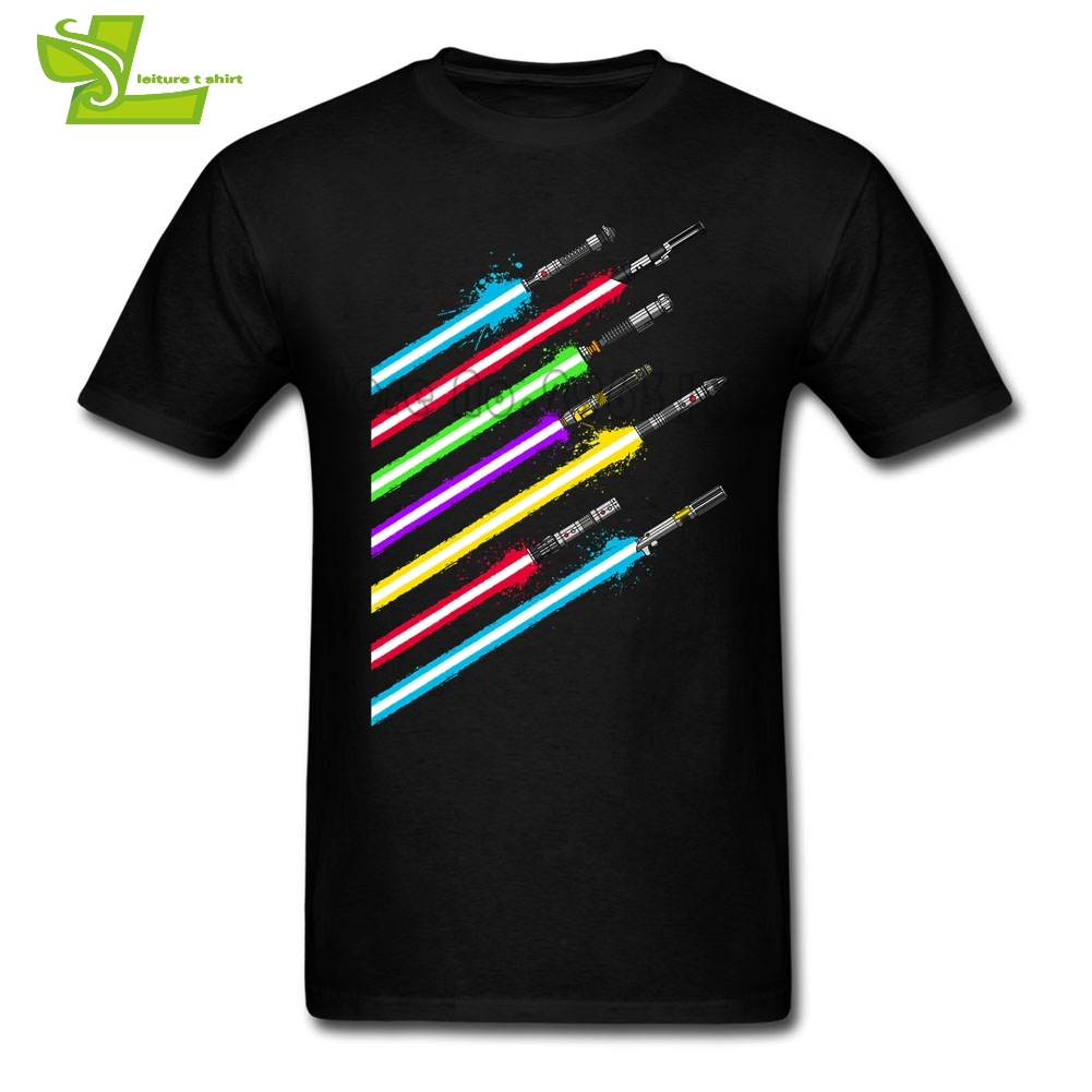 Lightsaber Star Wars Swords Male T Shirt Home Wear Classic Tops Mens Short Sleeve 100% Cotton Tees Teenboys Unique Tee Shirt