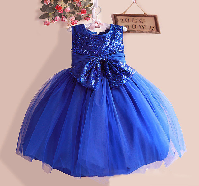 Top Quality Sequined Girls Dresses 3d Flower Silk Bow Layered