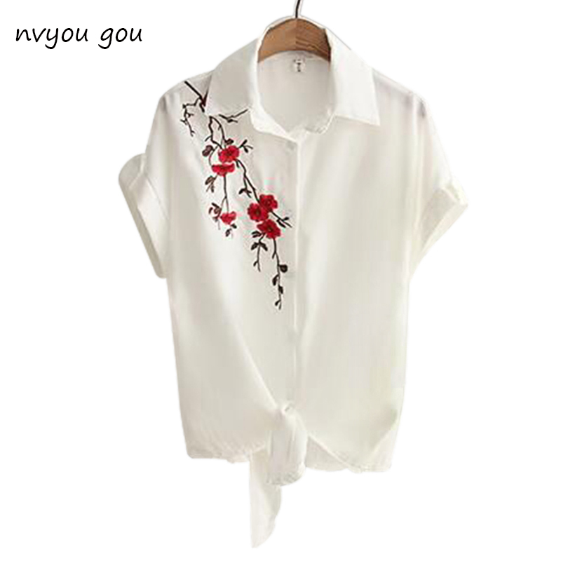2018 Top Summer Women Casual Tops Short Sleeve Embroidery -8673
