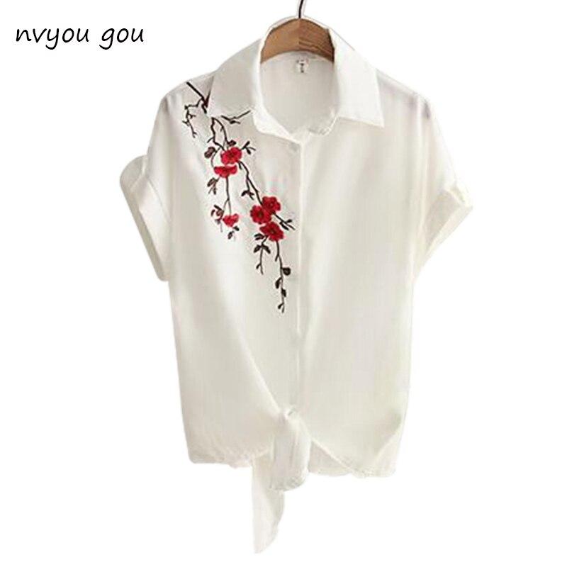 2018 летний топ Для женщин Повседневное Топы корректирующие короткий рукав Вышивка Белый Топ Блузки для малышек Рубашки для мальчиков сексуальное кимоно свободные пляжные рубашки blusas feminina