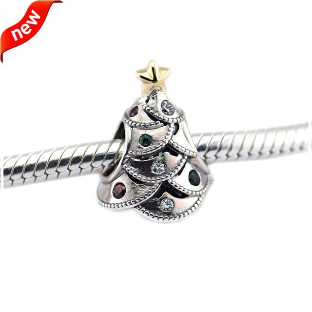 Contas para fazer jóias serve para pandora pulseira encantos de natal authentic 925 sterling-prata-jóias festivo árvore charme fl482k