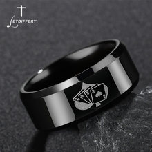 Letdiffery Trendy Spades Poker Ring Band Men Ring Stainless Steel Black Spades Poker Finger Ring wholesale anel(China)
