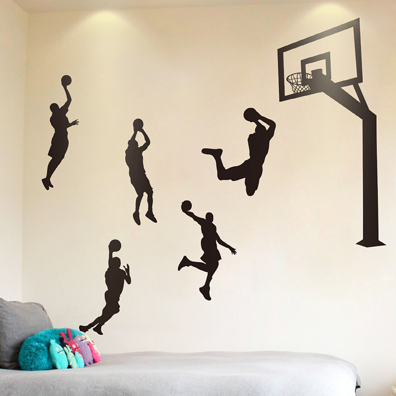 Basketball Player Wall Stickers Pvc Material Basketball Stand Wall Art For Kids Rooms Gymnasium Decoration Packing Of Nominated Brand shijuehezi Phone Earphones & Headphones