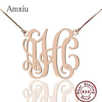 Amxiu 100% 925 Silver New Fancy Monogram Necklace Customized Name Necklace For Lovers Gifts Engrave 1 3 Letters Pendants Jewelry