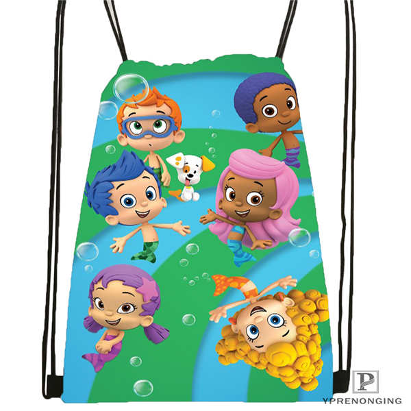 Custom Bubble-Guppies Drawstring Backpack Bag Cute Daypack Kids Satchel (Black Back) 31x40cm#180611-01-45