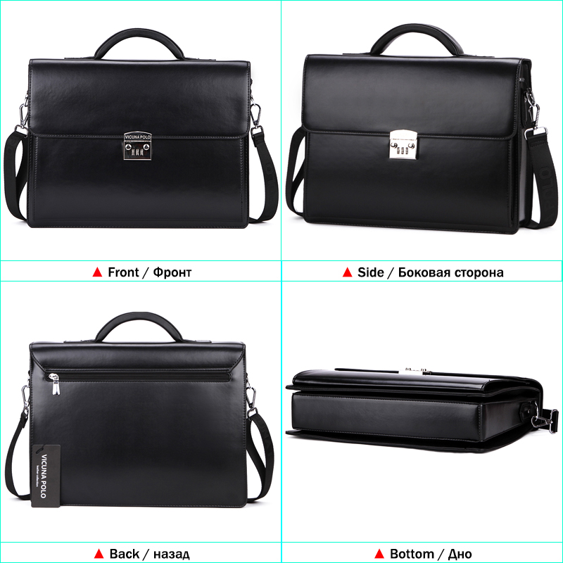 VICUNA POLO Luxury Famous Brand Password Lock Leather Bag Men Briefcase  Business Office Bag Leather maleta Large Man portfolio-in Briefcases from  Luggage ... 30655cc780be1