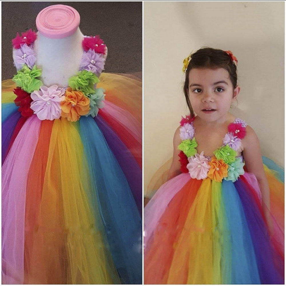 Baby Kids Colorful Flowers Rainbow Tutu Dress Fancy Gowns Flower Girl Dresses For Party And Wedding Princess Birthday Dresses hot sale white princess girl party birthday dresses tutu wedding dress for christmas with handmade flowers and big bow 12m 12y