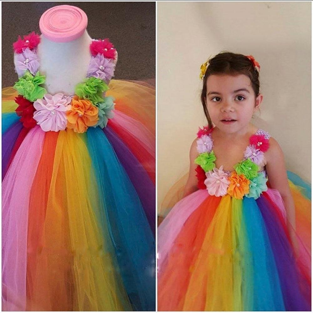 75261f953 Los niños del bebé flores de colores Arco Iris Tutu vestido ...