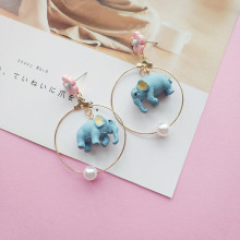 Women Cartoon Elephant Flower Cute Sweet Drop Dangle Earrings Korea Handmade Fashion Jewelry Holiday-JQD5