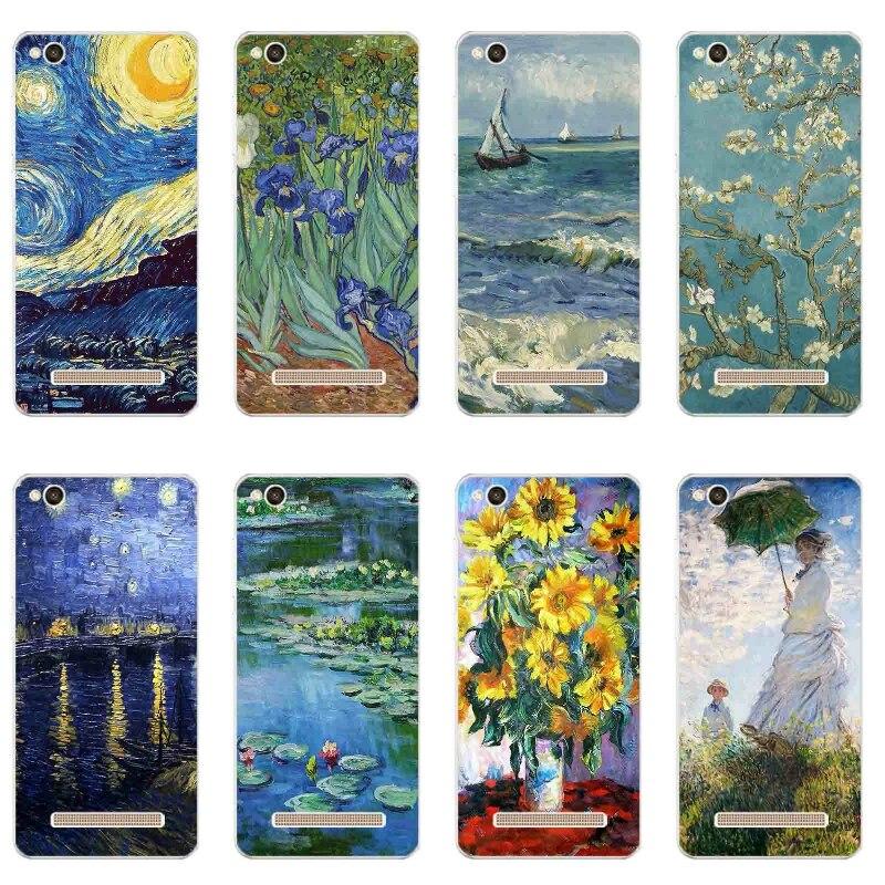 Θήκη τηλεφώνου 5,0 ιντσών για κάλυμμα Xiaomi Redmi 4a Διαφανές εξαιρετικά λεπτό για Redmi 4A Shell Silicon Van Gogh Pattern Fundas