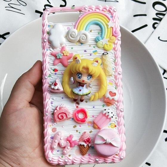 3D handgemachte fall für Samsung S10 plus S9/S8 + Creamy Sailor Mond DIY telefon abdeckung Galaxy Note 8/9 angepasst creme candy mädchen geschenk
