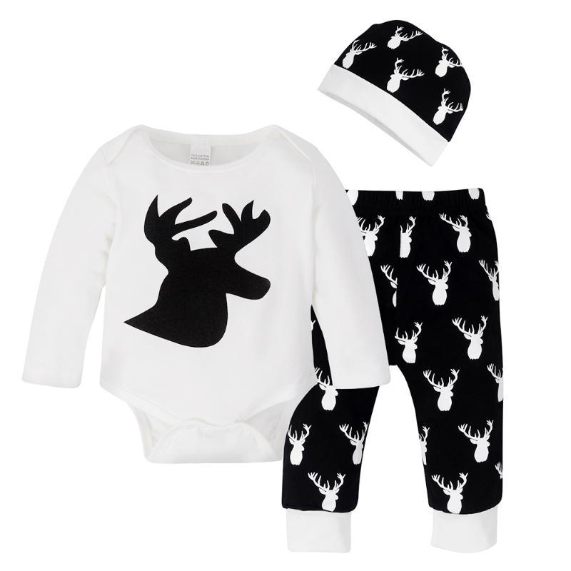 3pcs Christmas Baby Sets Babies Long Sleeves Elk Print Romper + Cartoon Pants + Small Cute Hat Winter Warm Chrismas Sweet Gift