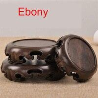 Black rosewood ebony circular base wood logs base stone jade ornaments bonsai teapot base