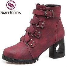 370dac658 Smeeroon botines cremallera lateral punta redonda estilo Reina otoño botas  hebillas Mujer Zapatos tacones gruesos botas