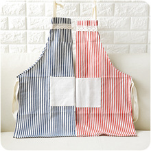 Kitchen Apron Home Vertical Stripe Fabric Sleeveless Cotton Belt Pocket Half-length Oil-proof Housework
