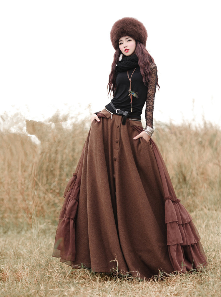 BOHOCHIC Womens Autumn Winter Vintage Retro Single Breasted Chiffon Ruffles Solid Long Skirt BX0006D Boho Chic In Skirts From Clothing