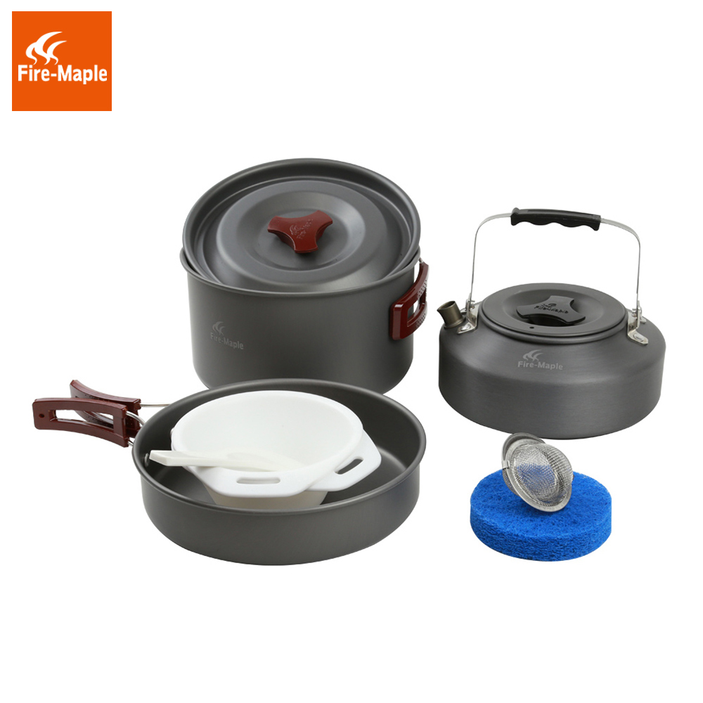 ФОТО Fire Maple 2-3 Persons Set Be Cocina Camping Pot Outdoor Cutlery With Kettle Panelas Camp Cooking Cookware Picnic FMC-204