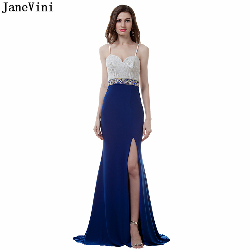 JaneVini Royal Blue Mermaid Long   Bridesmaid     Dresses   Spaghetti Straps Beading Sexy Side Split 2019 Satin Women Formal Prom Gowns