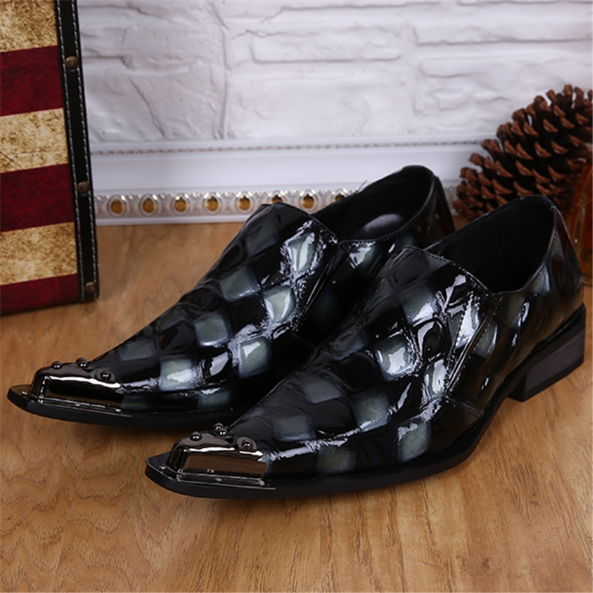 Plaid Mens Fashion Genuine Leather Wedding Dress Shoes Pointed Toe Male Business Prom Shoes Slip On Oxfords Creepers Flats fashion pointed toe men rhinestone oxfords business wedding leather shoes mens slip on flats prom dress oxford shoe creepers