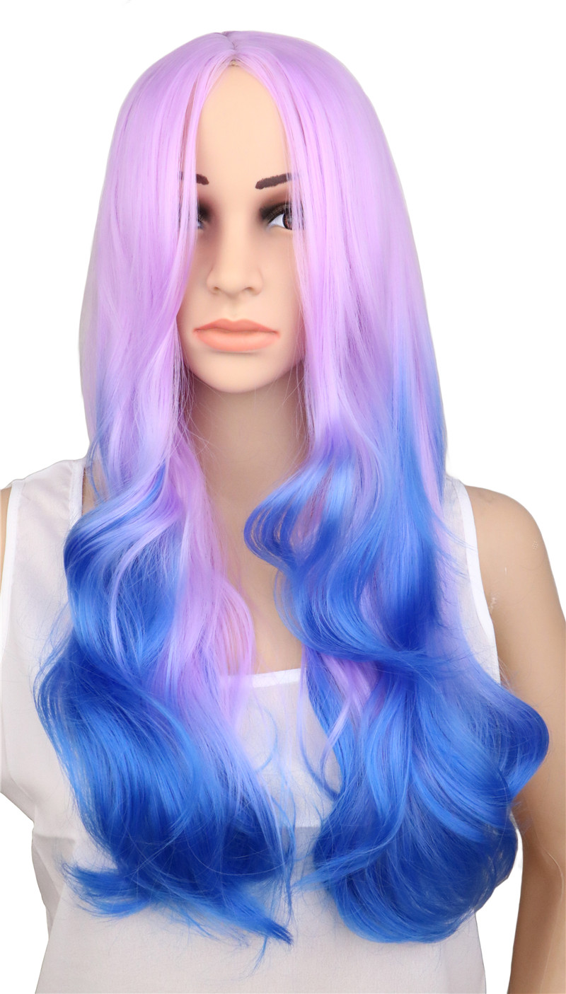 Qqxcaiw Women Laides Long Wavy Party Cosplay Wig Purple To