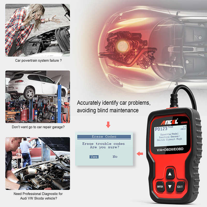 Ancel VD500 OBD2 Automotive Scanner Engine ABS Airbag Fault Code Reader Oil  Service EPB Reset for VAG Audi VW Skoda Seat Scanner