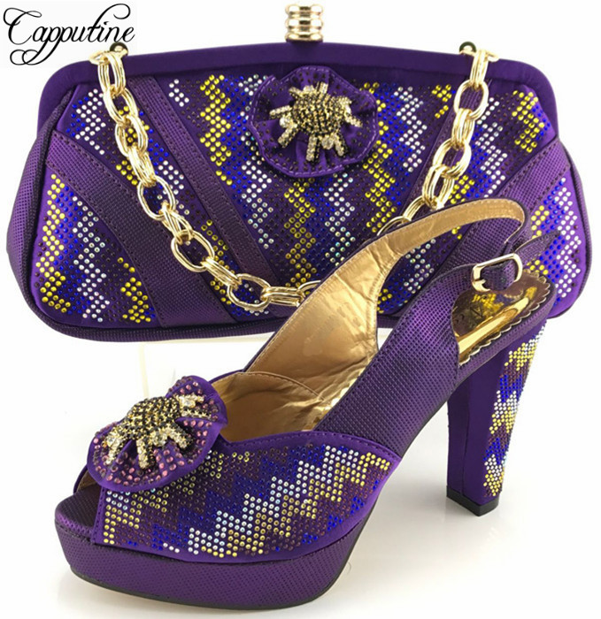 Capputine Elegant Woman Shoes And Matching Bag Set African Style Woman Peep Toe Pumps Shoes And Bag Set For Wedding Purpl ME6611 silver peep toe african woman pumps matching bag free shipping new italian shoes and bag set for wedding me6607