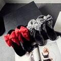 Большой лук мех слайды женщины модельер стадо бабочкой зима сандалии теплые шерстяные меховые тапочки женщин смешанный цвет меха флип флоп