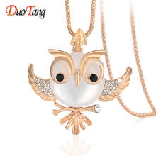 DuoTang Trendy Chubby Owl Necklace Fashion Rhinestone Jewelry Statement Women Necklace Chain Long Necklaces Pendants M0008