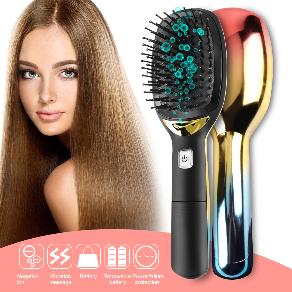 Upgrade Electric Negative Ionic Hair Brush With Handle Magic Anti static Hairbrush Massage Comb Smooth Hair Comb Styling Tools