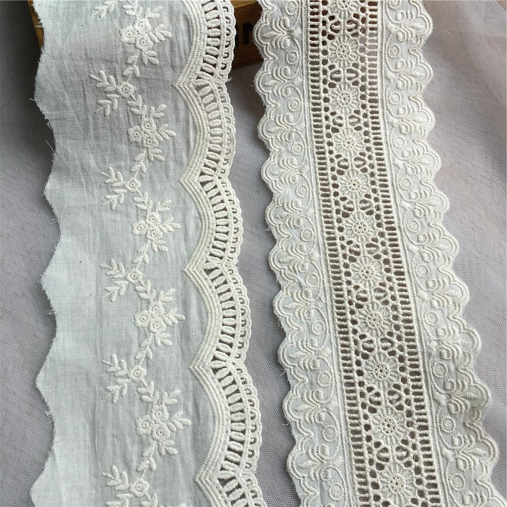 Nueva 3m Vintage Algodón Off blanco//crema Crochet festoneado Pretty ribete de encaje cinta