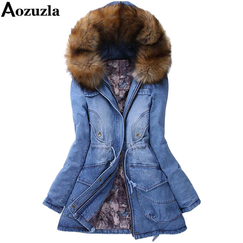 Denim Cotton-padded Parka New 2018 Big Yards Long Thick Winter Women Jacket Casual Winter Coat Women Hooded Fur Collar Coat Y403 nordic modern 10 head pendant light creative steel spider lamps unfoldable living room dining room post modern toolery led lamp page 1
