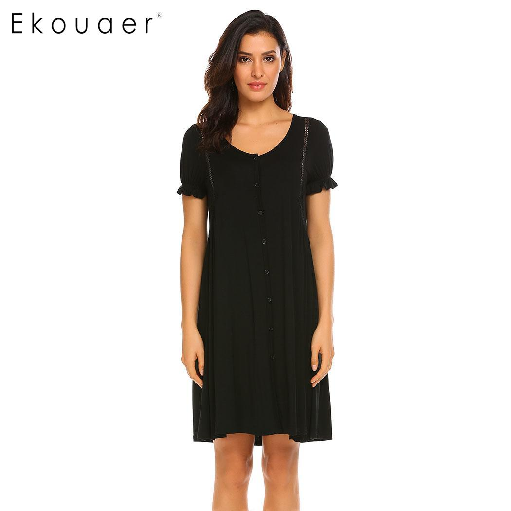 Ekouaer Women Nightgowns Nightdress Short Sleeve Button Front Female Night Gown Sleep Shirt Dress Sleepwear Plus Size S-XXL 2