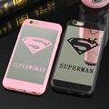 Súper hombre/mujer cubierta de goma del caso para apple iphone 6 6 s plus espejo volver caja del teléfono a prueba de golpes para iphone 7 7 plus