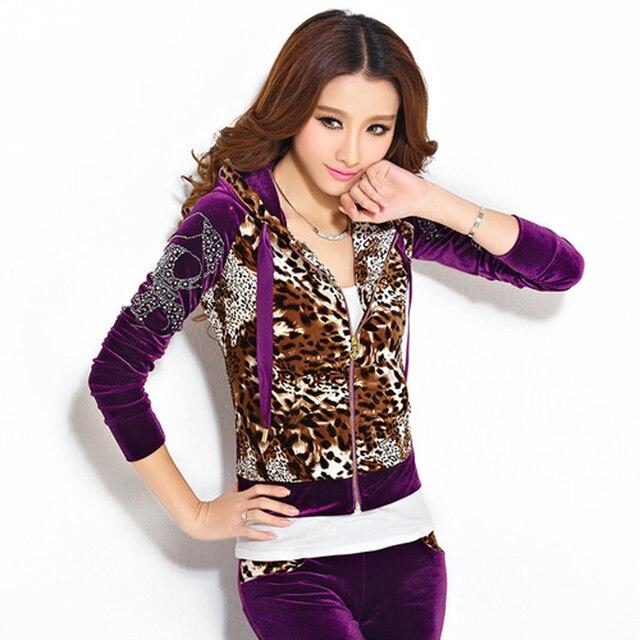 2017 Spring Autumn Velvet Tracksuits Women Leopard Print Hooded Sweatshirt  Jacket Long Pants Suit Lady Two Piece Velour Set 39c1fae52e