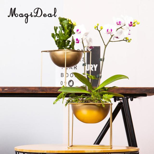 Metal Flower Pot with Stand Garden Plant Metal Iron Planter Home Decor