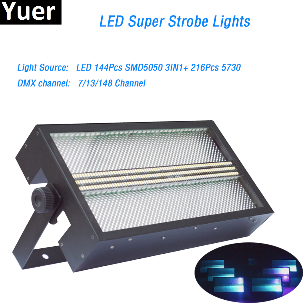 LED Super Strobe Light 144Pcs SMD5050 3in1+216Pcs 5730 DMX512 7/13/148 Channels For Party Disco DJ Bar Light Show LED Wash Par