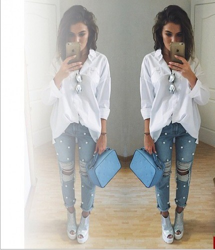 Pearl Light Blue Denim Pants Jeans femme Ripped Jeans For Women Sexy Trousers pantalones y jeans pantalones vaqueros mujer