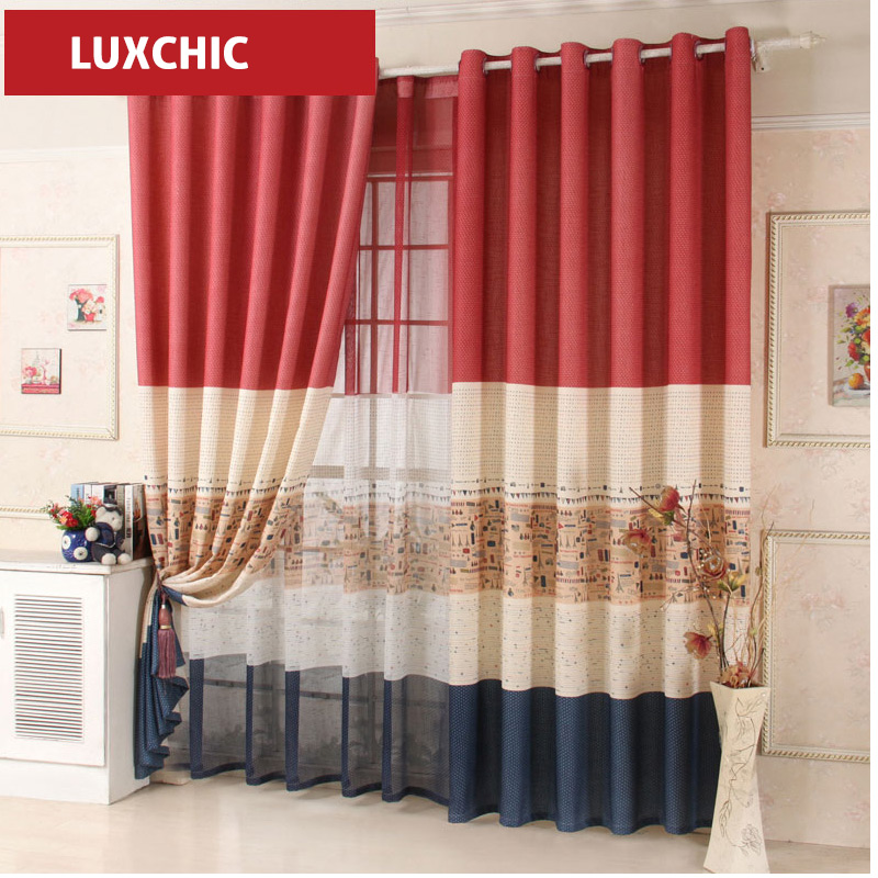 Red Blue Color Block Cartoon Linen Curtains for Living Room Kids Curtains  for Bedroom Window. Popular Blue Red Curtains Buy Cheap Blue Red Curtains lots from