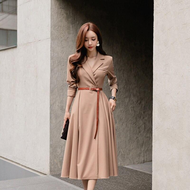 Élégant col en v femmes une ligne robe décontracté manches longues longue robe ceintures plissé Patry Vestidos femme 2018 automne hiver