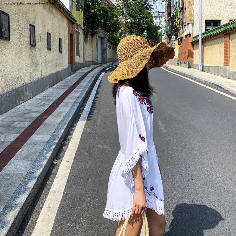 الرجعية التطريز شرابات بلوزة المرأة الصيف الدانتيل قميص البوهيمي زائد الحجم تونك قمم فام الأبيض الأزرق