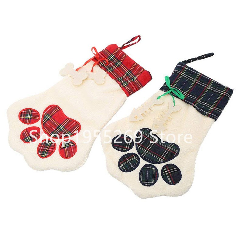 Plaid Paw Stocking Christmas Gift Bags Burlap Christmas Stockings Wholesale 250pcs/lot Plaid Dog Paw Xmas Sock Fast Shipping plaid
