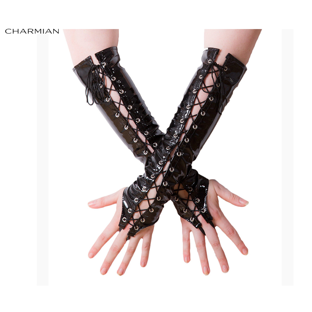 Charmian Women's Fashion Black Long Lace-up Fingerless Gloves Party Club Punk Accessory