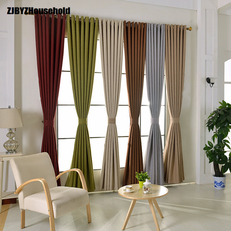 US $13.28 20% OFF|Pure natural scene shading color cotton and linen  curtains for living room High grade contracted and contemporary bedroom-in  ...