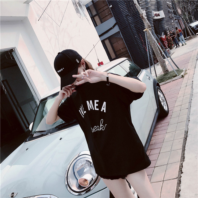 2018 New Arrival Letter GIVE MEA Printed Cotton Casual T-Shirt Women Street Fashion Style Korea Ulzzang Loose O-Neck Tee Tops 1