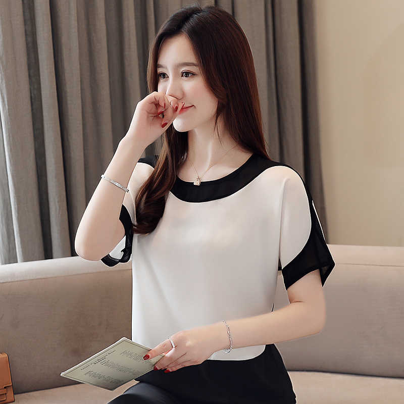blusas mujer de moda 2019 short Sleeve summer women blouses plus size tops chiffon white blouse womens tops and blouses 3397 50